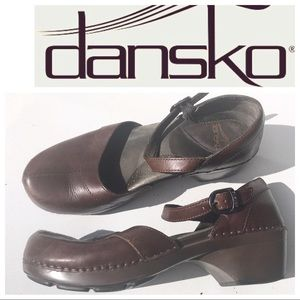 Dansko shoes ankle strap Clogs 40 10 brown
